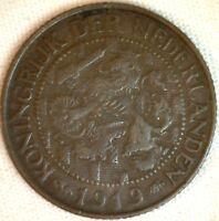1919 Bronze Netherlands 1 One Cent Coin VF Very Fine KM# 152 K