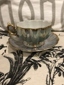 ROYAL SEALY CHINA JAPAN FOOTED TEA CUP AND SAUCER TEAL & GOLD