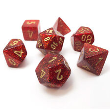 Chessex Dice Glitter Ruby Red w/ Gold Poly Set of 7 - 27504 - RPG D&D