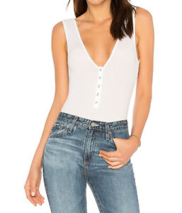 Free People Womens Take Me Out OB780481 Bodysuit Slim White Size XS