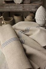 Grainsack fabric grain sack material hemp  BLUE organic stripe upholstery PER YD