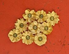 "NEW Prima ""Luna - Luminous"" 9 Gorgeous Golden Flowers with Beaded Rhinestones"