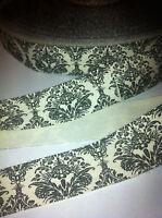"""Damask Print Cotton Ribbon Trim sewing - 1"""" wide - Grey White by M"""