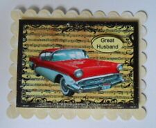 PACK 2 GREAT HUSBAND RED CADILAC CAR TOPPER EMBELLISHMENTS  FOR CARDS AND CRAFTS
