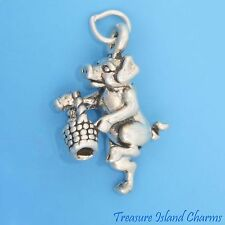 LITTLE PIGGY WENT TO MARKET Pig with Basket 3D .925 Solid Sterling Silver Charm