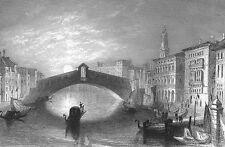 Venice Italy, RIALTO BRIDGE CANAL ~ Art Print Engraving