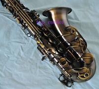 Professional Antique Bronze Eb Alto Saxophone Abalone shell key High F# sax new