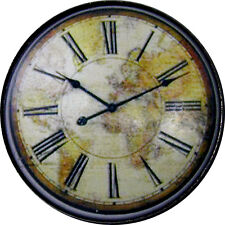 1 inch Crystal Dome Button Clock Face #15 w Map Bk Grnd FREE US SHIPPING