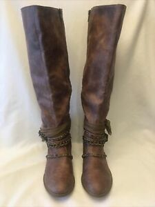 Not Rated Spiffy Tall Embellished Sassy Boots Size 9.5 US Taupe Boots