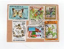CÔTE D'IVOIRE 6 timbres sur devant de lettre coupée tampon 1996 Abidjan /L894