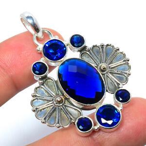 "Blue Sapphire Gemstone 925 Sterling Silver Handmade Bali Pendant 1.95"" S2682"