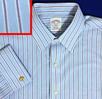 15.5 32-33 BROOKS BROTHERS FRENCH CUFF BLUE BURGUNDY STRIPED  NO-IRON MENS SHIRT