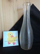 "Clear Glass Vase 9"" Fine Ribbed Woven Bamboo Ftd Usa Flower Bud Floral Display"