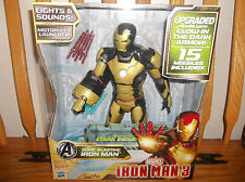 DISNEY STORE IRONMAN (NEW) BLACK AND GOLD 20 SOUNDS & PHRASES GLOW IN DARK ARMOR