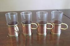 VINTAGE COPPER BRASS GLASSES DRINKING CUP HOLDERS CORK INSERT IRISH COFFEE TEA