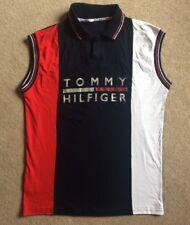 Tommy Hilfiger Sleeveless Polo Shirt Block Stripes Chest Logo Red White Blue
