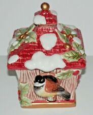 Fitz & Floyd Winter Birdhouse Lidded Treasure Trinket Box Chickadee Bird House