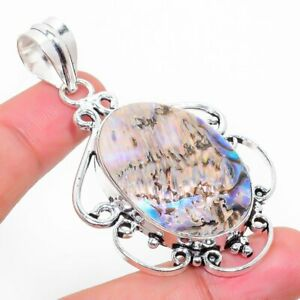 "Abalone Shell Gemstone Handmade 925 Sterling Silver Jewelry Pendant 2.36"""