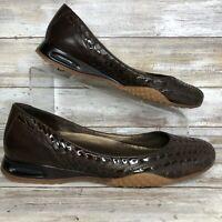 Cole Haan Womens 8M Brown Woven Loafer Slip On Low Wedge Heel