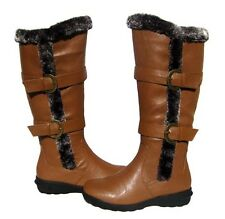 New Women's BOOTS Knee High Winter Fur Lined Snow Brown Tan shoe Ladies size 6