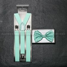 SUSPENDERS and BOW TIE COMBO SET-Tuxedo Classic Fashion Teal Green