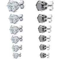 MENDINO Men's Unisex 316L Stainless Steel Round Stud Earrings Crown CZ 3mm-8mm