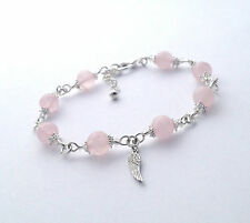 Rose Quartz Crystal Gemstone Bracelet ~ Angels Wing ~ Love Fertility Healing