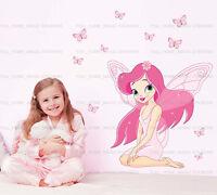 Pink Butterfly Fairy Wall Stickers Girls Room Art Decal Kids Decor Mural Paper