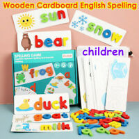 English Spelling Alphabet Game Kids Early Educational Toys Wood Cardboard Puzzle