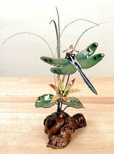 Green-Winged Dragonfly & Flowers Enameled Copper/Metal Sculpture by Bovano #FM12