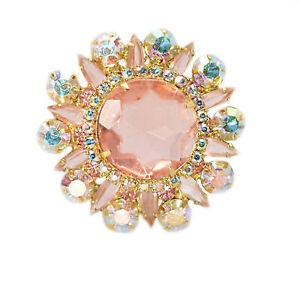 Vintage Peach Rhinestone & AB Rhinestone Starburst Unsigned Beauty Brooch