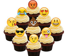 Emoji Party Pack, 36 Edible Cup Cake Toppers, Fairy Bun Decorations Smiley Faces