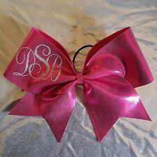"Monogram Initials Personalized Cheer Bow 3"" Pink Ribbon Handmade Hair Bow"