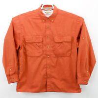 Orvis Men's Orange Vented LS Front Button Shirt Size Large L EUC Free Shipping