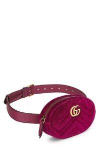 Gucci GG Logo Marmont Velvet Fuchsia Belt Bag 95cm - NEW
