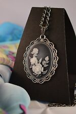 LARGE GREY ROSE CAMEO NECKLACE   [26/1/24]