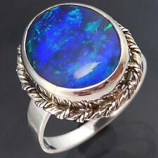 BOLD NEON Blue Purple Green OPAL 9k Solid WHITE GOLD COCKTAIL RING Sz O1/2