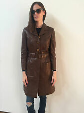 $6K CHANEL CC LOGOS! CHOCOLATE BROWN LEATHER TRENCH DRESS COAT JACKET 38 4 6 S M