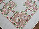 Vintage TEA DISHES BOTTLES TABLECLOTH Cotton Textured Fabric EUC