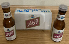 Schlitz Salt And Pepper Shakers, Glass, Vintage