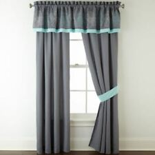 """JCP Home Expressions Alice Lined Panel Pair 84""""x84"""" With Tie Backs Gray"""