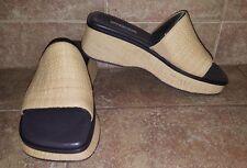 Nine & Company NCalosiek Natural Straw Wedge Sandal in Biege and Brown- 6.5 US
