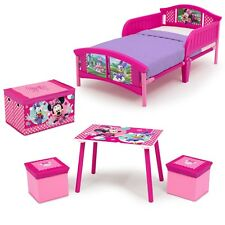 4-Piece Minnie Mouse Toddler Bed Bedroom Set Kids Home Bedding Furniture Toy Kit