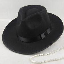 Vintage Women Men Hard Felt Hat Wide Brim Fedora Trilby Panama Hat Gangster Cap