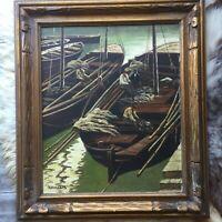 Vintage Oil Painting Original Boat Scene Signed Gay Candelis Artist Home Decor