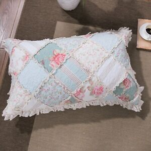 DaDa Bedding Hint of Mint Cottage Floral Cotton Patchwork Pillow Sham