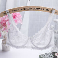 Women's Sexy 1/2 Cup Lace Bra Soft Mesh Underwired Demi Bra Unlined See Through