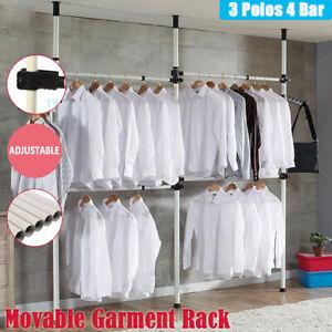 Heavy Duty Adjustable Garment Hanging Rack Clothes Bag Hat Hanger Closet Shelf