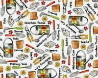 GARDEN TOOLS GARDENING FABRIC SUMMER 100% COTTON QT WHO LET THE HOGS OUT YARDAGE