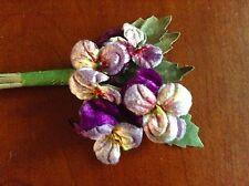 Millinery Flower Velvet Pansies Purple Lavender for Hat Wedding + Hair Y239